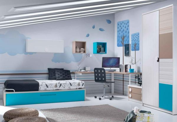 обзавеждане детска стая за момче в син бял цвят