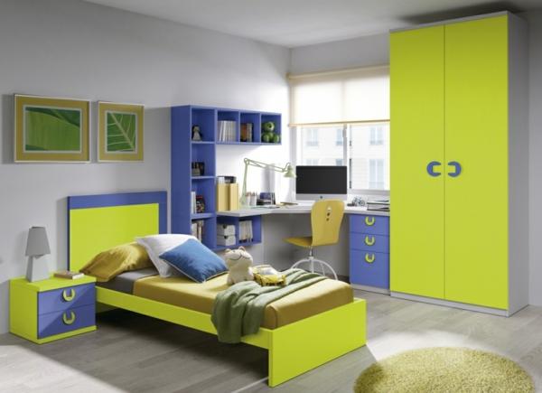 обзавеждане детска стая интериор синьо жълто