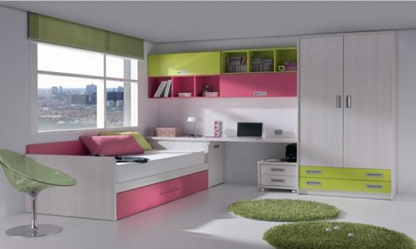 обзавеждане детска стая идеи бяло зелено интериор