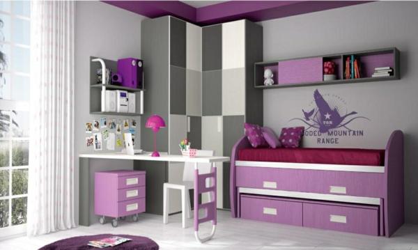 обзавеждане детска стая за момичета лилаво бяло интериор