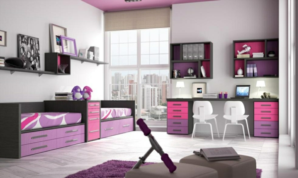 обзавеждане за детска стая за две момичета лилав цвят