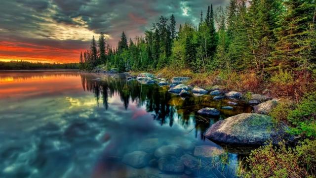 otrajenie voda nebe zalez