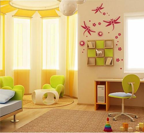 стикери за стена на детска стая жълт интериор