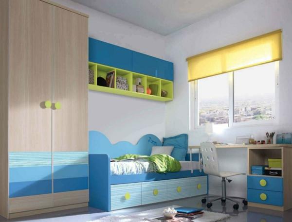 детска стая в синьо бяло жълто за момчета