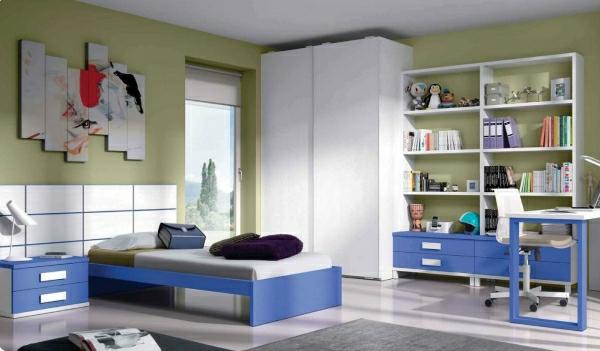 детска стая синьо зелено бяло интериор за момчета