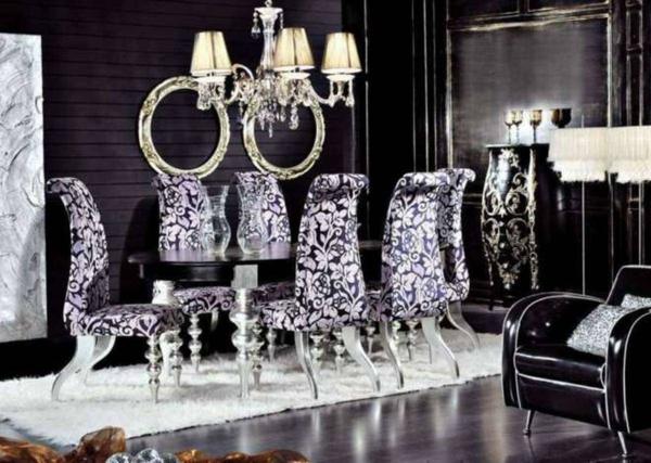stolove za trapezariq retro stil lilava damaska