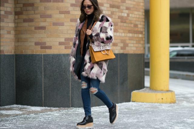 street style ot nu iork sedmicata na modata cvetno kojeno palto