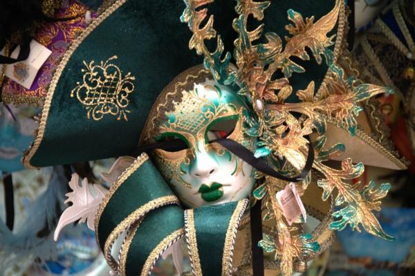 veneciq karnavalat maska zelena shapka