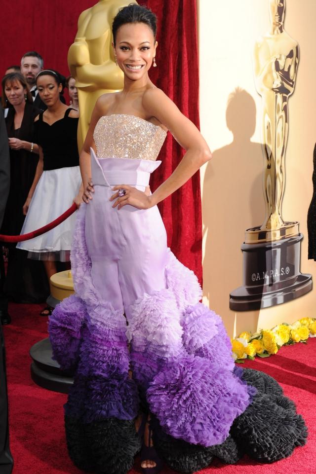 Zoe Saldana v lilava roklq na Givenchy Haute Couture