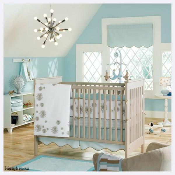 цветове за бебешка стая за момче синьо бяло