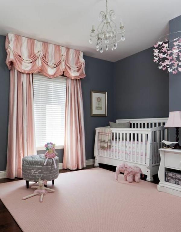 цветове за бебешка стая за момиче сиво розово