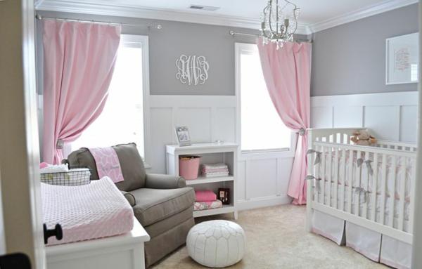 цветове за бебешка стая за момиченце розово сиво