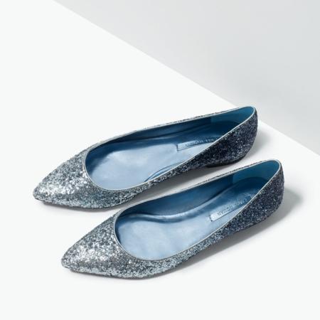 brokat ravni pantofi obuvki zara prolet