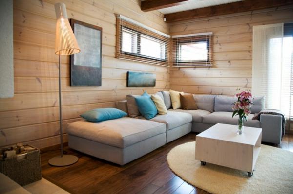 Дървените елементи в интериора на хола Lazara Bg