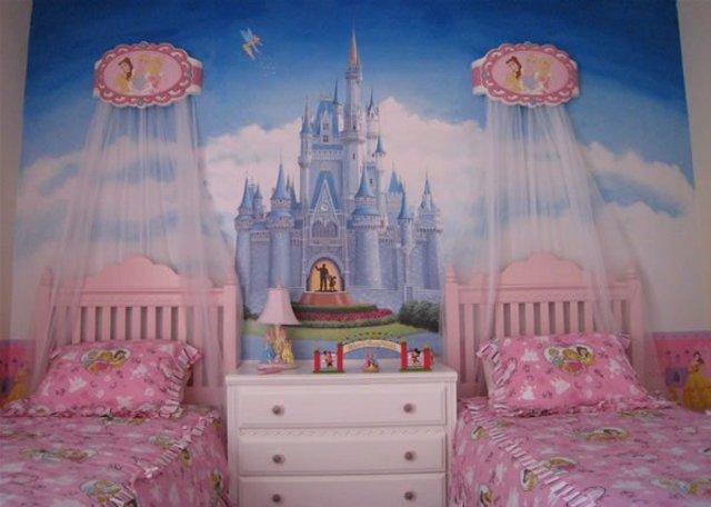 детска стая за момичета балдахин декорация стена