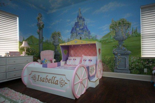 детска стая за момичета рисунка стена легло каляска