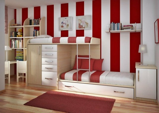 детска стая две момичета интериор червено бяло