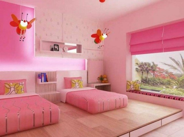 детска стая две момичета интериорен дизайн в розово