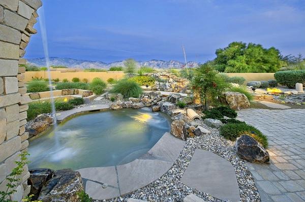 gradina moderna ezero fontan zeleni rasteniq