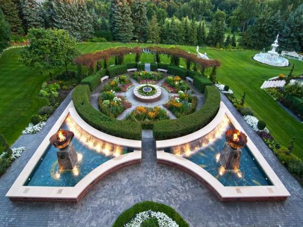 gradina zelena hrasti fontani raigras