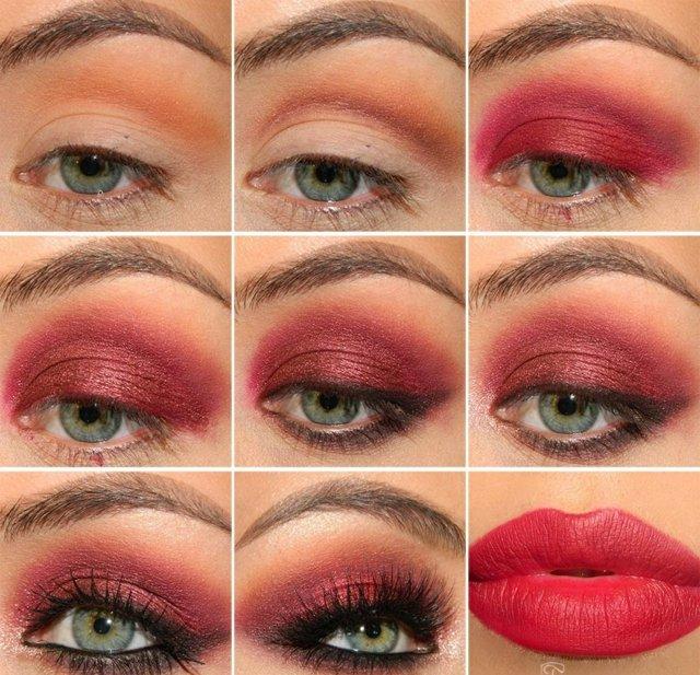 грим в цвят марсала очи устни