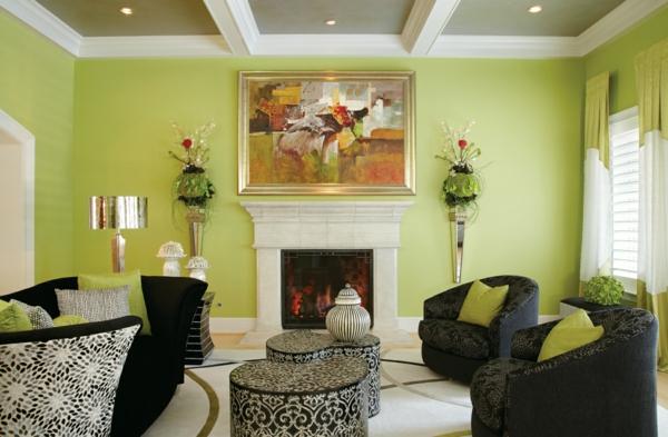 hol stena interior zeleno mebeli cherno