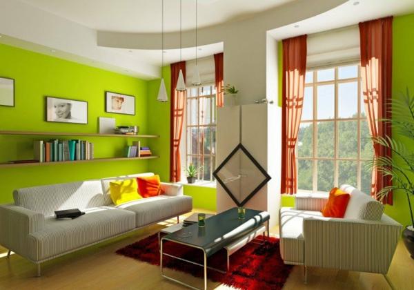 hol zeleno interior steni zavesi divani