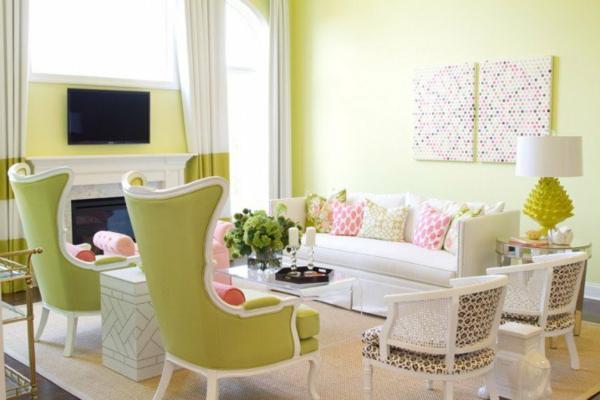 interior zeleno divani bqlo stolove kamina