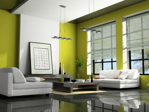 hol zeleno steni idei divani beli