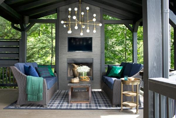 idei dizain dvor divani kamina