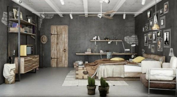 interior spalnq industrialen stil sivi steni