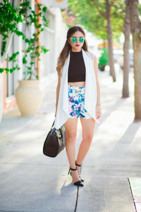kasi pantaloni visoka taliq prolet floralni