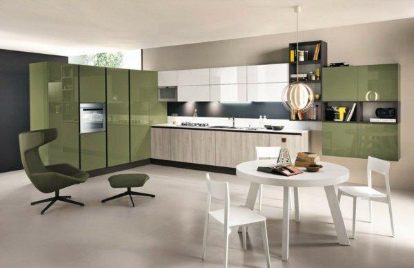 kuhnenski dizain idei zeleni mebeli beli stolove