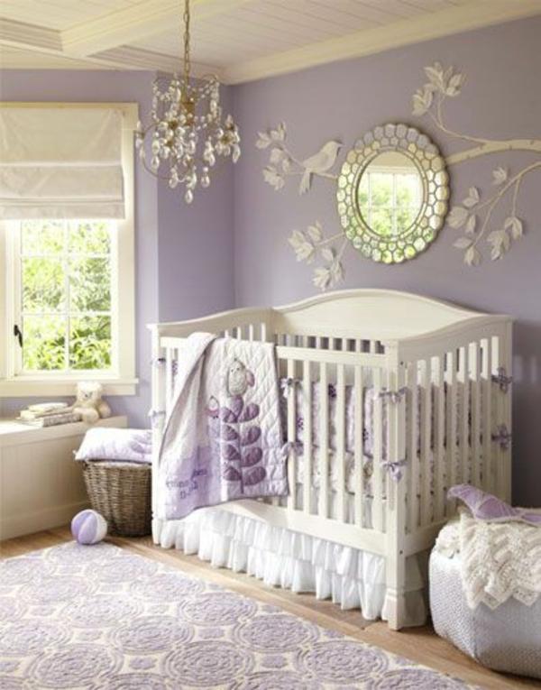 цветове за бебешка стая за момиче лилаво бяло