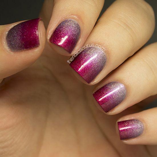 manikiur ombre cherveno sivo