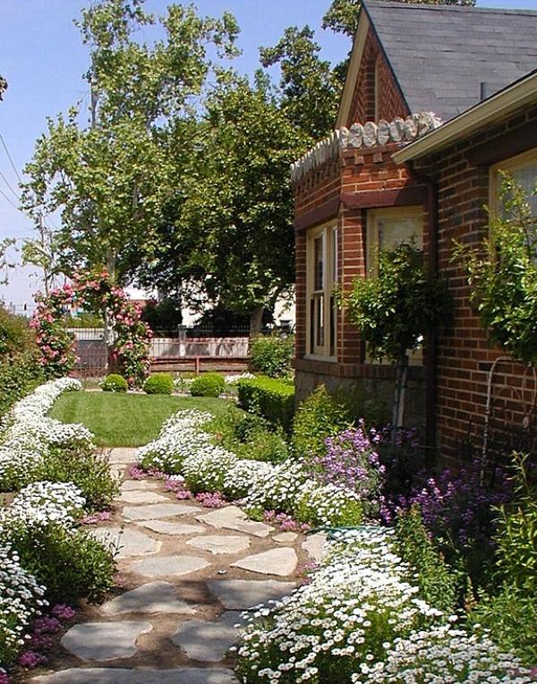moderna gradina beli zeleni cvetq rasteniq