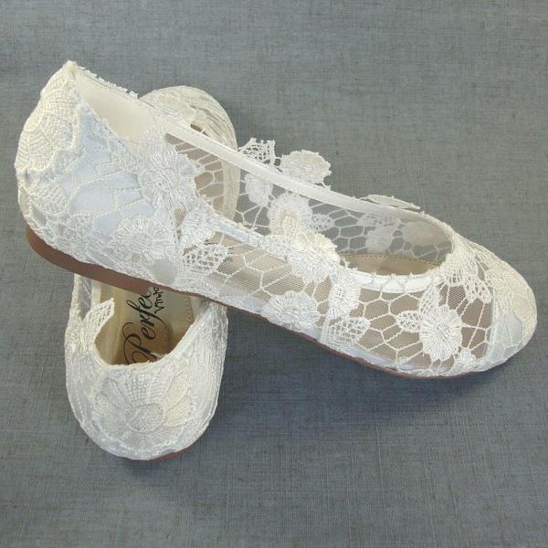niski obuvki svatba dantela beli