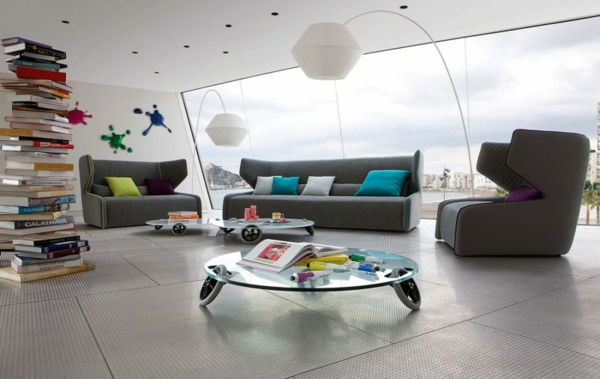 futuristichen stil sivi mebeli