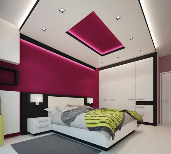 osvetlenie spalnq rozova lunichki okachen tavan