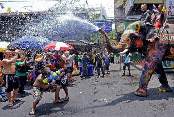 po sveta festivali slonove voda songkran tailand