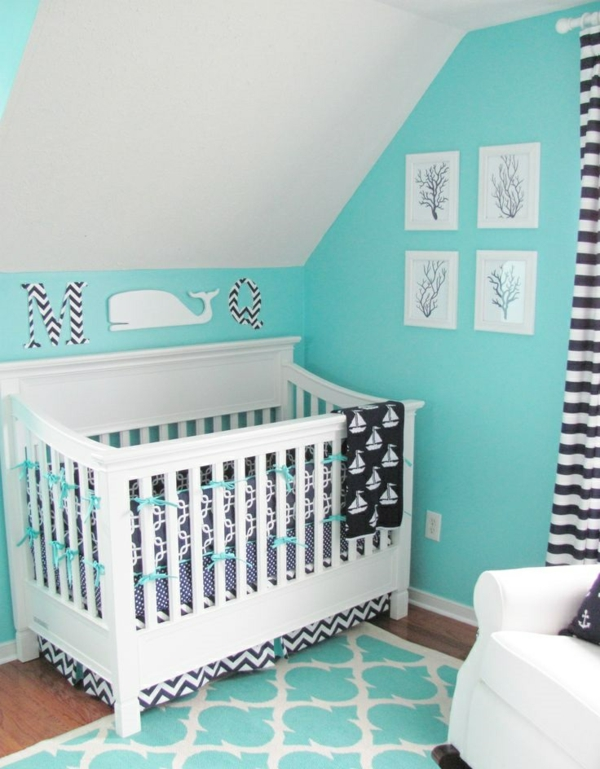 цветове за бебешка стая за момче бяло синьо