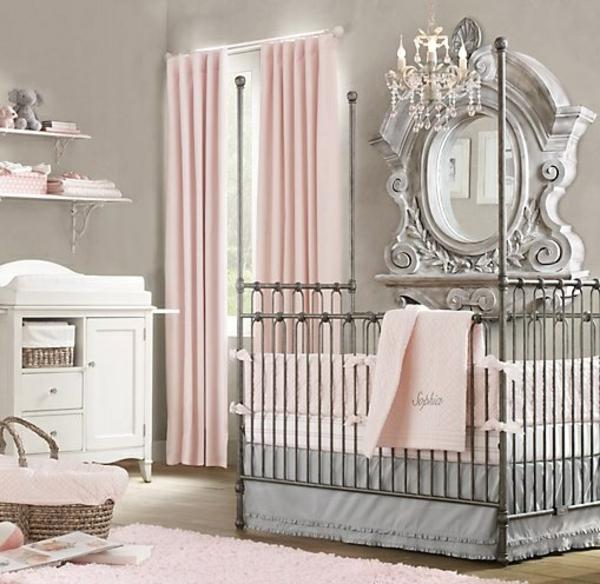цветове за бебешка стая момиче розово сиво