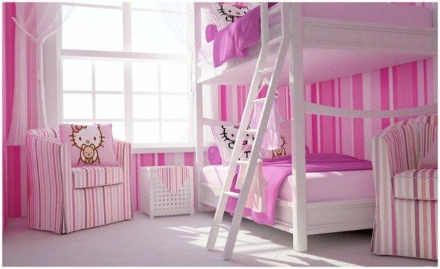 детска стая за две момичета двуетажно легло