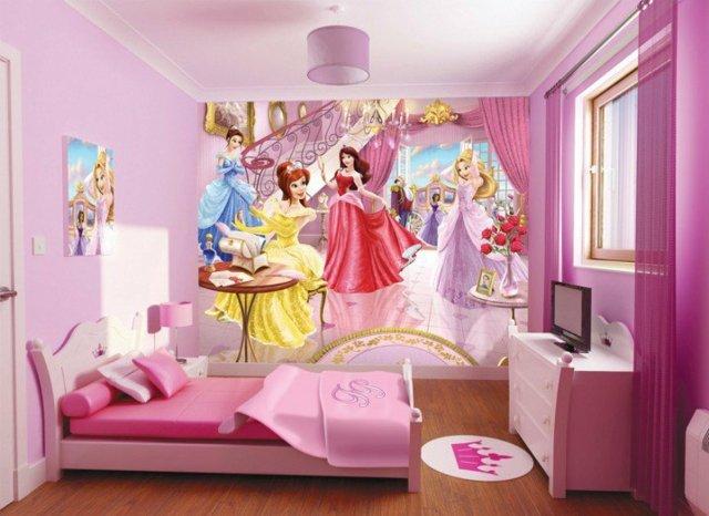 детска стая за момичета в розово декорация стена принцеси