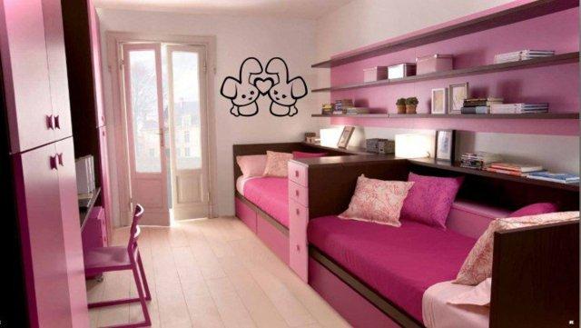 детска стая две момичета розов интериорен дизайн