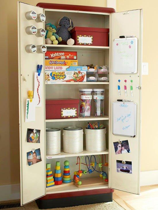 идеи за съхранение детски играчки  шкаф