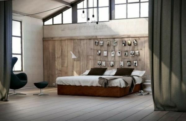 spalnq industrialen stil interior parket prozorci