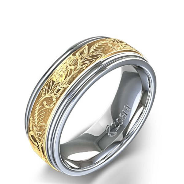 Patterned Wide Ring Silver