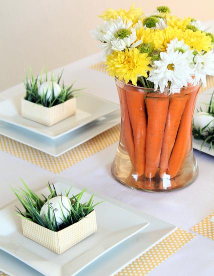 velikdenska dekoraciq za masa s morkovi i cvetq