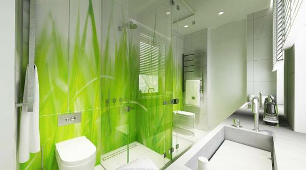 zelena banq s beli plochki dekoraciq staklo dush kabina